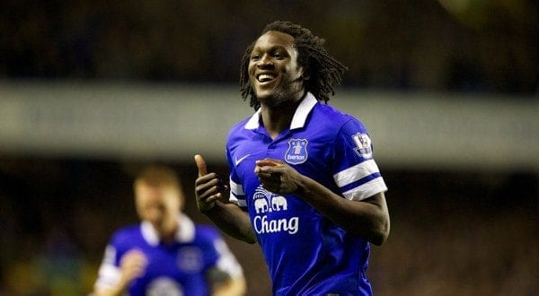 LIVERPOOL, ENGLAND - Monday, September 30, 2013: Everton's Romelu Lukaku celebrates scoring the first goal against Newcastle United during the Premiership at Goodison Park. (Pic by David Rawcliffe/ Propaganda)