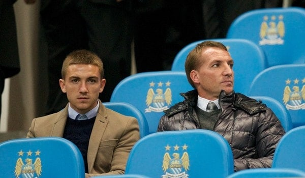 MANCHESTER, ENGLAND - Wednesday, October 2, 2013: Liverpool manager Brendan Rodgers watches Manchester City take on Bayern Munich during the UEFA Champions League Group D match at the City of Manchester Stadium. (Pic by David Rawcliffe/Propaganda)