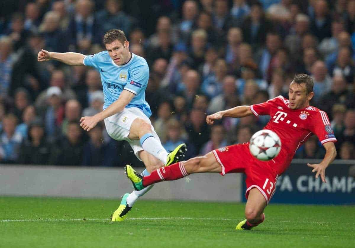 MANCHESTER, ENGLAND - Wednesday, October 2, 2013: Manchester City's James Milner in action against Bayern Munich's Rafinha during the UEFA Champions League Group D match at the City of Manchester Stadium. (Pic by David Rawcliffe/Propaganda)