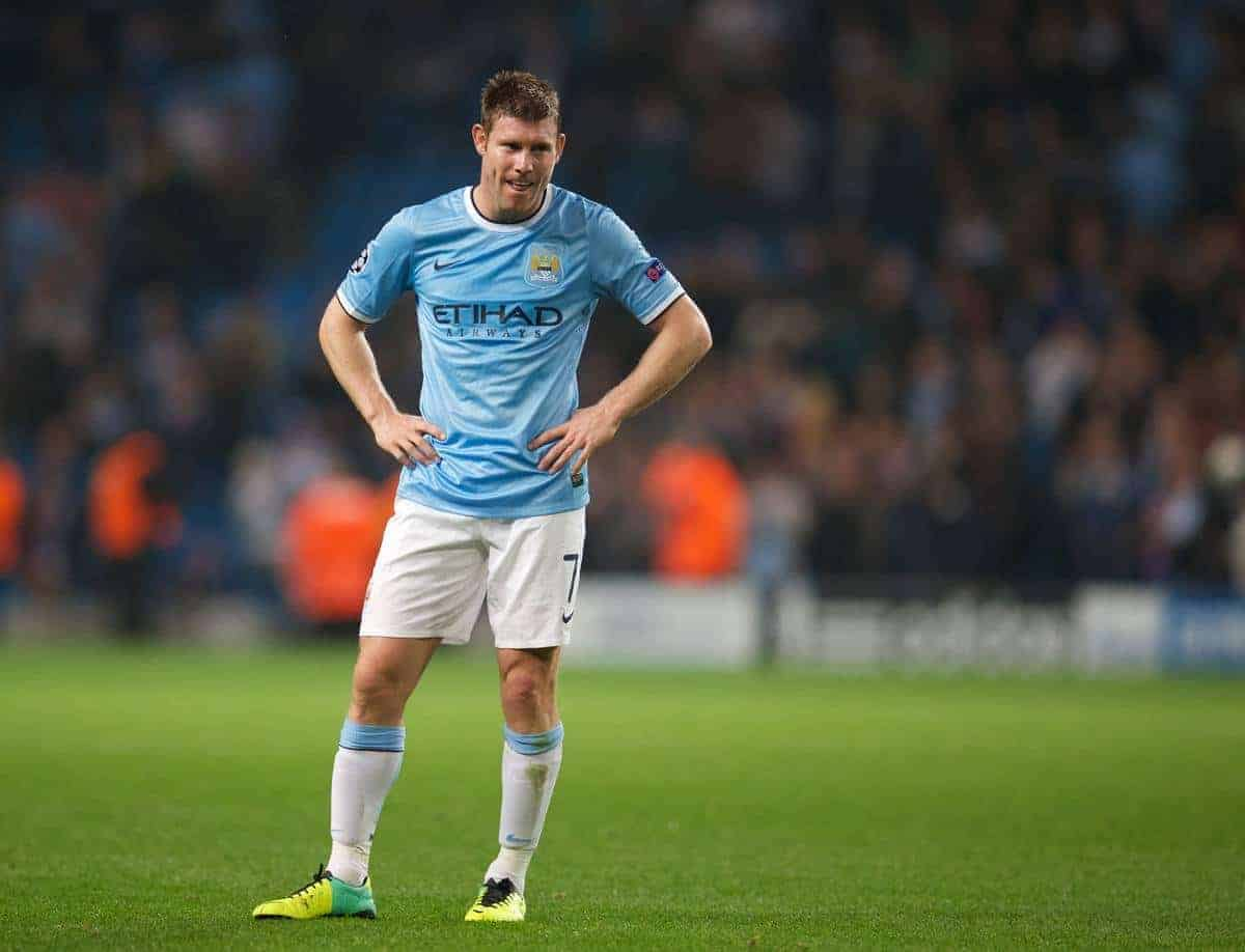 MANCHESTER, ENGLAND - Wednesday, October 2, 2013: Manchester City's James Milner looks dejected as his side lose 3-1 to Bayern Munich during the UEFA Champions League Group D match at the City of Manchester Stadium. (Pic by David Rawcliffe/Propaganda)