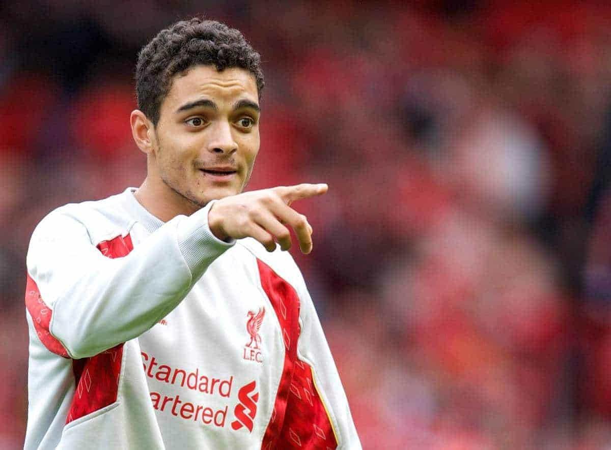 LIVERPOOL, ENGLAND - Saturday, October 5, 2013: Liverpool's Tiago Ilori warm-up before the Premiership match against Crystal Palace at Anfield. (Pic by David Rawcliffe/Propaganda)