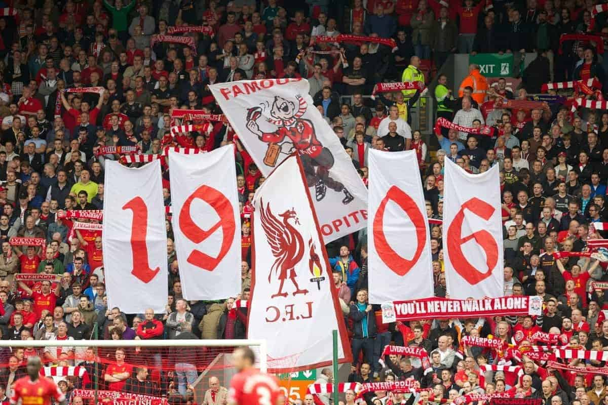 LIVERPOOL, ENGLAND - Saturday, October 5, 2013: Liverpool supporters on the Spion Kop during the game against Crystal Palace in the Premiership match at Anfield. (Pic by David Rawcliffe/Propaganda)