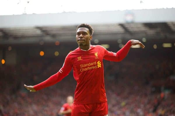 LIVERPOOL, ENGLAND - Saturday, October 5, 2013: Liverpool's Daniel Sturridge celebrates scoring the second goal against Crystal Palace during the Premiership match at Anfield. (Pic by David Rawcliffe/Propaganda)