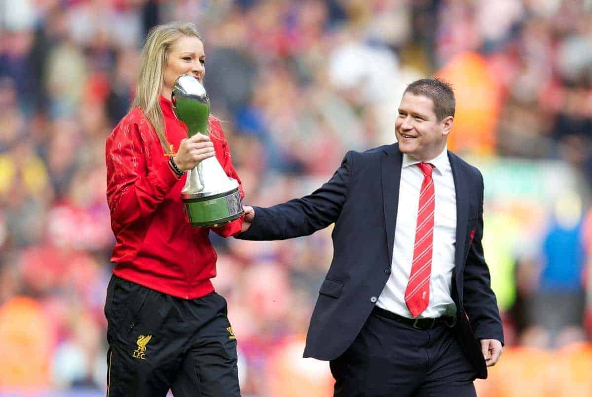 LIVERPOOL, ENGLAND - Saturday, October 5, 2013: Liverpool Ladies captain Gemma Bonner holding the Women's Super League trophy with manager Matt Beard as the team parade around at Anfield. (Pic by David Rawcliffe/Propaganda)