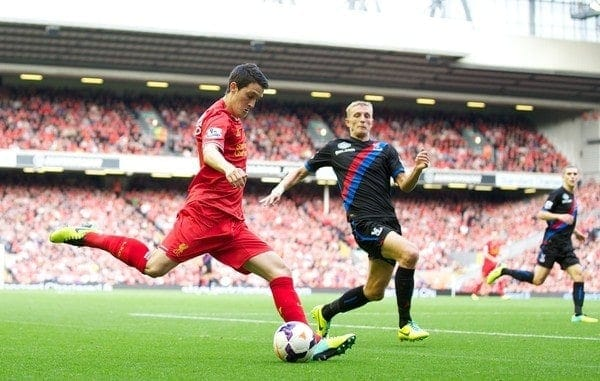 LIVERPOOL, ENGLAND - Saturday, October 5, 2013: Liverpool's Luis Alberto in action against Crystal Palace during the Premiership match at Anfield. (Pic by David Rawcliffe/Propaganda)
