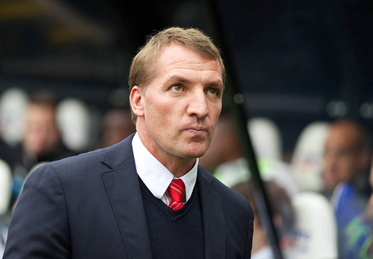 NEWCASTLE-UPON-TYNE, ENGLAND - Saturday, October 19, 2013: Liverpool's manager Brendan Rodgers before the Premiership match against Newcastle United at St. James' Park. (Pic by David Rawcliffe/Propaganda)