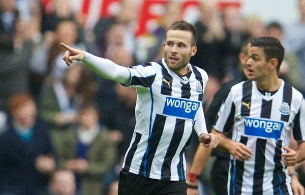 NEWCASTLE-UPON-TYNE, ENGLAND - Saturday, October 19, 2013: Newcastle United's Yohan Cabaye celebrates scoring the first goal against Liverpool during the Premiership match at St. James' Park. (Pic by David Rawcliffe/Propaganda)
