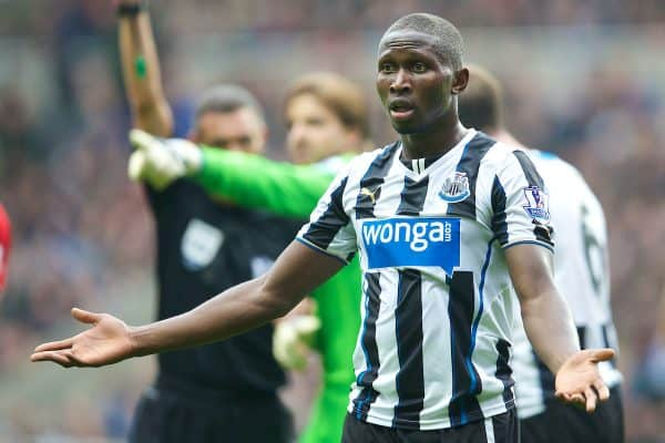 NEWCASTLE-UPON-TYNE, ENGLAND - Saturday, October 19, 2013: Newcastle United's Mapou Yanga-Mbiwa appeals after being shown the red card and sent off during the Premiership match against Liverpool at St. James' Park. (Pic by David Rawcliffe/Propaganda)