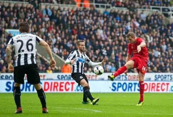 NEWCASTLE-UPON-TYNE, ENGLAND - Saturday, October 19, 2013: Liverpool's Jordan Henderson in action against Newcastle United during the Premiership match at St. James' Park. (Pic by David Rawcliffe/Propaganda)