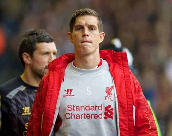 LIVERPOOL, ENGLAND - Saturday, October 26, 2013: Liverpool substitute Daniel Agger against West Bromwich Albion during the Premiership match at Anfield. (Pic by David Rawcliffe/Propaganda)