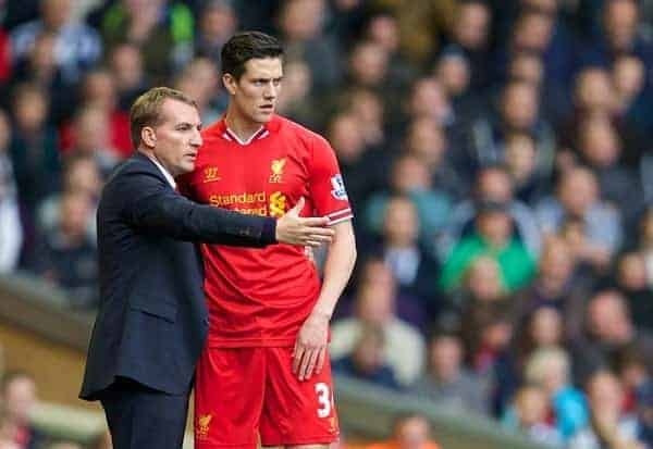 LIVERPOOL, ENGLAND - Saturday, October 26, 2013: Liverpool's manager Brendan Rodgers and Martin Kelly during the Premiership match against West Bromwich Albion at Anfield. (Pic by David Rawcliffe/Propaganda)
