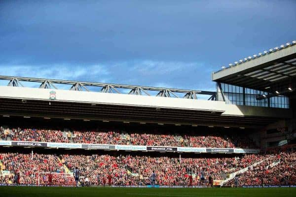 LIVERPOOL, ENGLAND - Saturday, October 26, 2013: The Anfield Road stand in bright sunshine as Liverpool take on West Bromwich Albion during the Premiership match at Anfield. (Pic by David Rawcliffe/Propaganda)