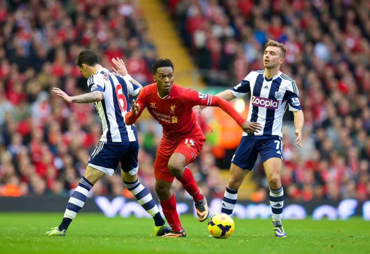 LIVERPOOL, ENGLAND - Saturday, October 26, 2013: Liverpool's Daniel Sturridge in action against West Bromwich Albion during the Premiership match at Anfield. (Pic by David Rawcliffe/Propaganda)