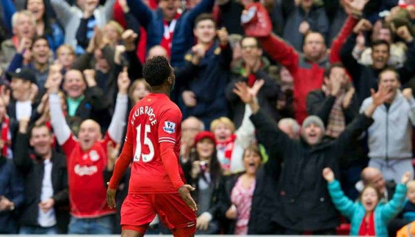 LIVERPOOL, ENGLAND - Saturday, October 26, 2013: Liverpool's Daniel Sturridge celebrates scoring the fourth goal against West Bromwich Albion during the Premiership match at Anfield. (Pic by David Rawcliffe/Propaganda)