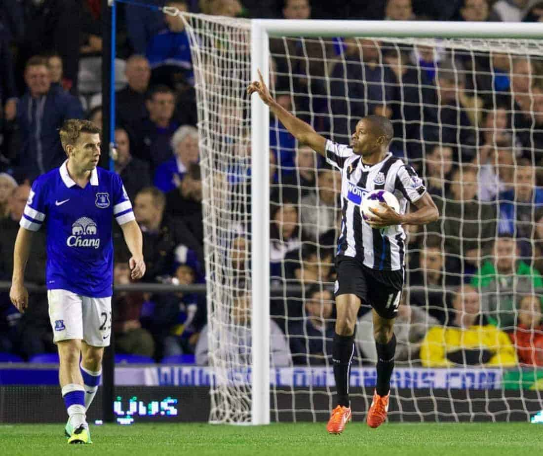 LIVERPOOL, ENGLAND - Monday, September 30, 2013: Newcastle United's Loic Remy celebrates scoring the second goal against Everton during the Premiership match at Goodison Park. (Pic by David Rawcliffe/Propaganda)