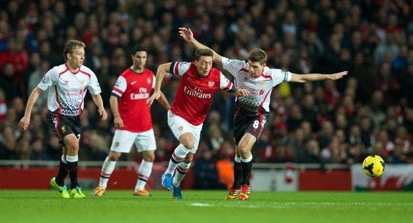 LONDON, ENGLAND - Saturday, November 2, 2013: Arsenal's Mesut Ozil in action against Liverpool during the Premiership match at the Emirates Stadium. (Pic by David Rawcliffe/Propaganda)