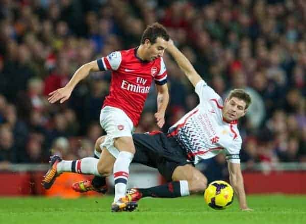 LONDON, ENGLAND - Saturday, November 2, 2013: Arsenal's Santi Cazorla and Liverpool's captain Steven Gerrard during the Premiership match at the Emirates Stadium. (Pic by David Rawcliffe/Propaganda)