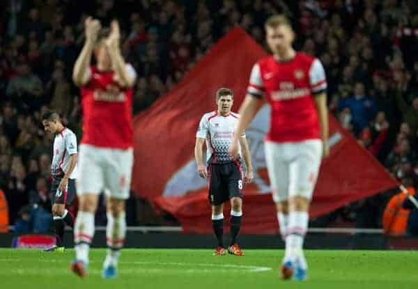 LONDON, ENGLAND - Saturday, November 2, 2013: Liverpool's captain Steven Gerrard looks dejected following his side's 2-0 defeat during the Premiership match at the Emirates Stadium. (Pic by David Rawcliffe/Propaganda)