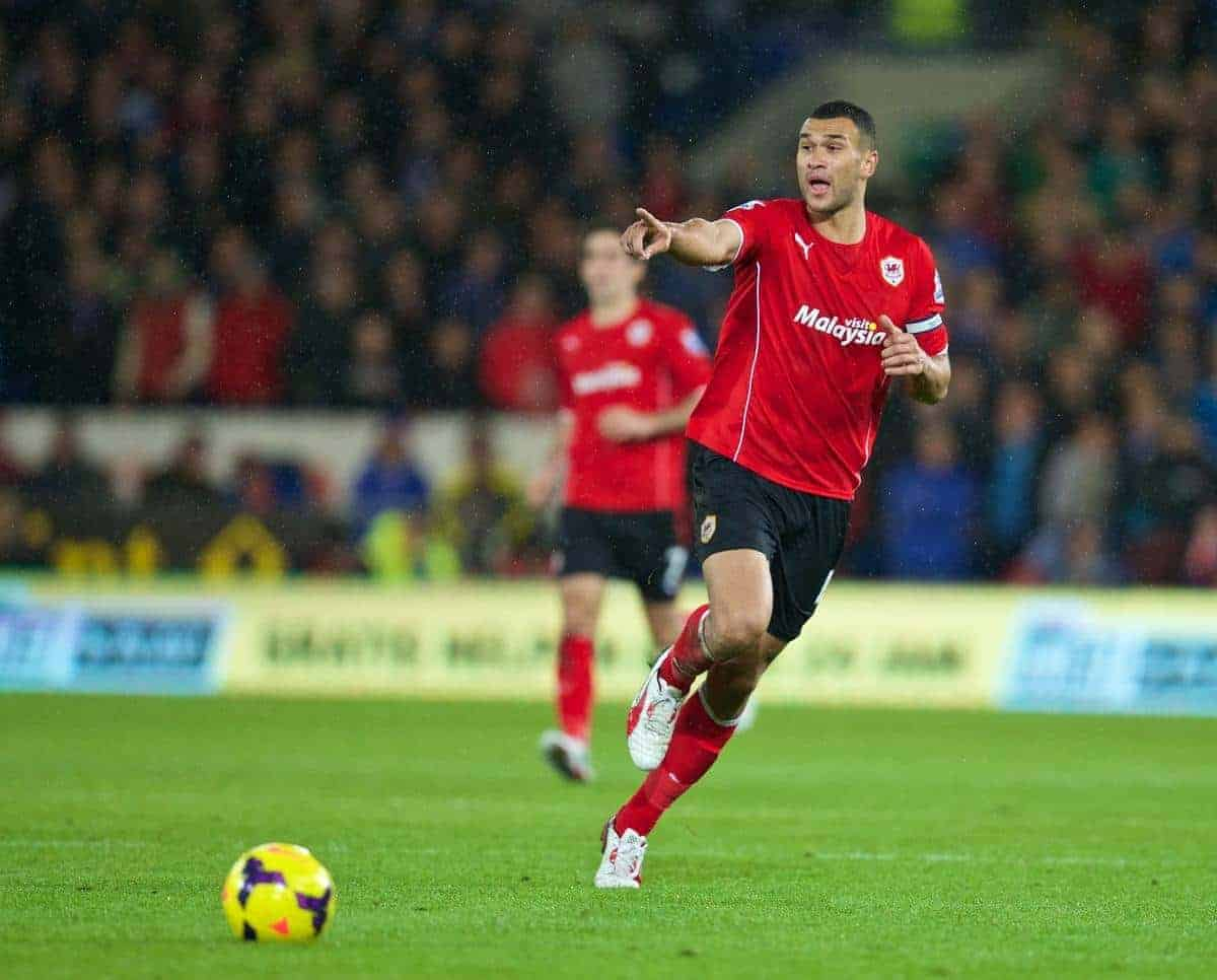 CARDIFF, WALES - Sunday, November 3, 2013: Cardiff City's captain Steven Caulker in action against Swansea City during the Premiership match at the Cardiff City Stadium. (Pic by David Rawcliffe/Propaganda)