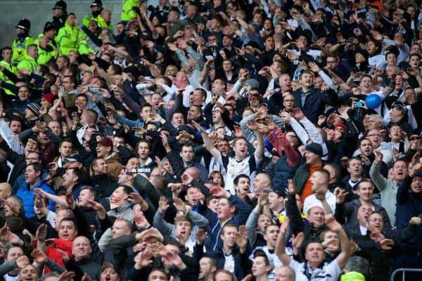 CARDIFF, WALES - Sunday, November 3, 2013: Swansea City supporters sing 'Swim Away' before the Premiership match against Cardiff City at the Cardiff City Stadium. (Pic by David Rawcliffe/Propaganda)