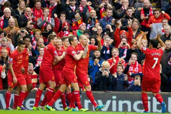LIVERPOOL, ENGLAND - Saturday, November 9, 2013: Liverpool's Martin Skrtel celebrates scoring the second goal against Fulham during the Premiership match at Anfield. (Pic by David Rawcliffe/Propaganda)