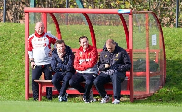 LIVERPOOL, ENGLAND - Saturday, November 9, 2013: Liverpool's director of academy and player development Frank McParland, Phil Roscoe and reserve team head coach Rodolfo Borrell during the Premier League Academy match at the Kirkby Academy. (Pic by David Rawcliffe/Propaganda)