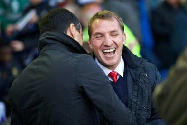 LIVERPOOL, ENGLAND - Saturday, November 23, 2013: Liverpool's manager Brendan Rodgers and Everton's manager Roberto Martinez before the 221st Merseyside Derby Premiership match between Everton and Liverpool at Goodison Park. (Pic by David Rawcliffe/Propaganda)