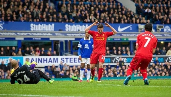 LIVERPOOL, ENGLAND - Saturday, November 23, 2013: Liverpool's Joe Allen looks dejected after missing a chance against Everton during the 221st Merseyside Derby Premiership match at Goodison Park. (Pic by David Rawcliffe/Propaganda)