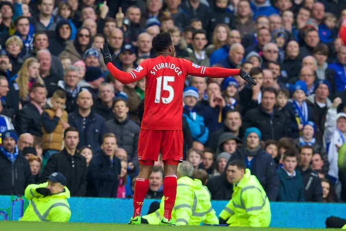 LIVERPOOL, ENGLAND - Saturday, November 23, 2013: Liverpool's Daniel Sturridge celebrates scoring the third goal against Everton to level the scores at 3-3 during the 221st Merseyside Derby Premiership match at Goodison Park. (Pic by David Rawcliffe/Propaganda)