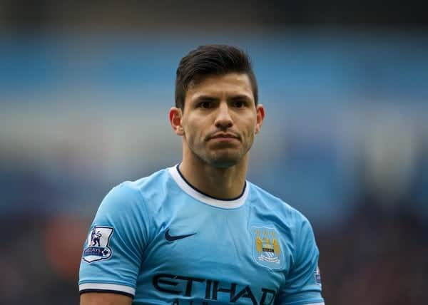 MANCHESTER, ENGLAND - Sunday, November 24, 2013: Manchester City's Sergio Aguero in action against Tottenham Hotspur during the Premiership match at the City of Manchester Stadium. (Pic by David Rawcliffe/Propaganda)