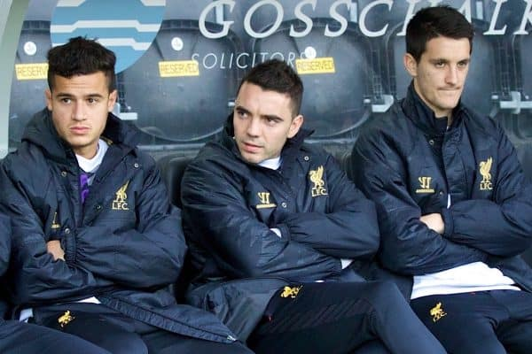 HULL, ENGLAND - Sunday, December 1, 2013: Liverpool's substitute's bench Joe Allen, Daniel Agger, Mamadou Sakho, Philippe Coutinho Correia, Iago Aspas and Luis Alberto before the Premiership match against Hull City at the KC Stadium. (Pic by David Rawcliffe/Propaganda)