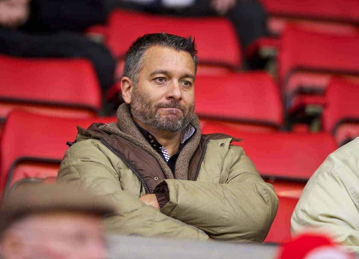 LIVERPOOL, ENGLAND - Saturday, December 7, 2013: Spanish football journalist Guillem Balague during the Premiership match at Anfield. (Pic by David Rawcliffe/Propaganda)