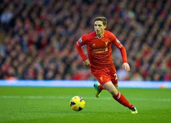 LIVERPOOL, ENGLAND - Saturday, December 7, 2013: Liverpool's Joe Allen in action against West Ham United during the Premiership match at Anfield. (Pic by David Rawcliffe/Propaganda)