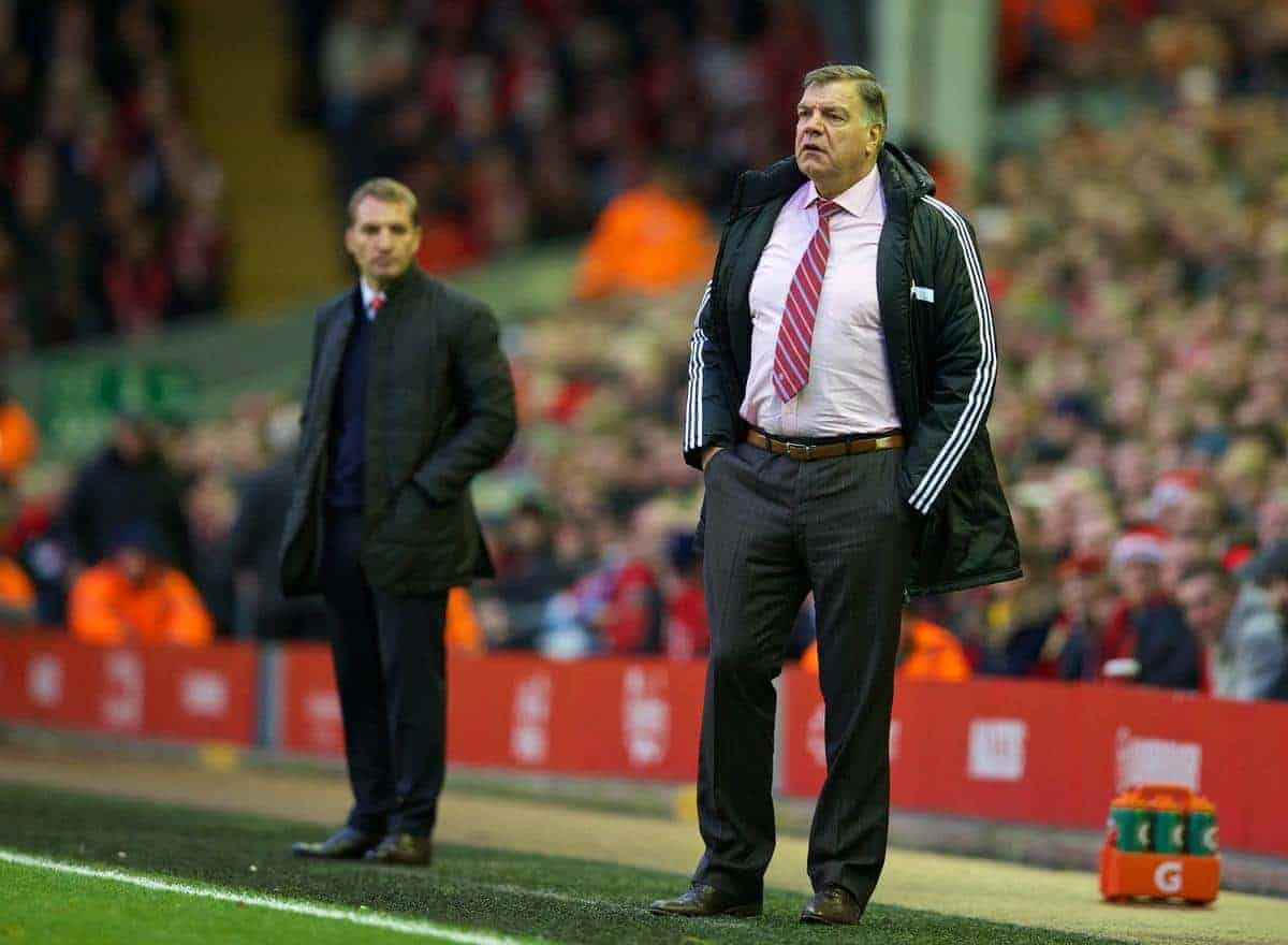 LIVERPOOL, ENGLAND - Saturday, December 7, 2013: West Ham United's manager Sam Allardyce during the Premiership match against Liverpool at Anfield. (Pic by David Rawcliffe/Propaganda)
