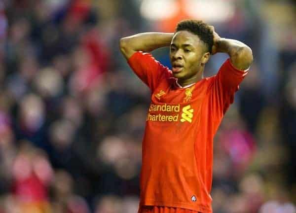 LIVERPOOL, ENGLAND - Saturday, December 7, 2013: Liverpool's Raheem Sterling looks dejected after missing a chance against West Ham United during the Premiership match at Anfield. (Pic by David Rawcliffe/Propaganda)