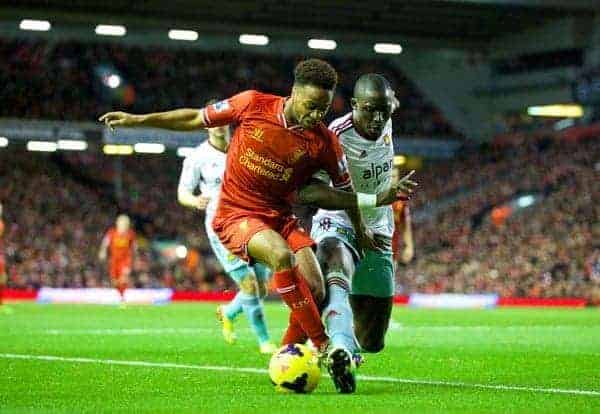 LIVERPOOL, ENGLAND - Saturday, December 7, 2013: Liverpool's Raheem Sterling in action against West Ham United during the Premiership match at Anfield. (Pic by David Rawcliffe/Propaganda)