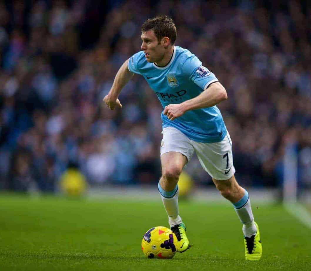 MANCHESTER, ENGLAND - Saturday, December 14, 2013: Manchester City's James Milner in action against Arsenal during the Premiership match at the City of Manchester Stadium. (Pic by David Rawcliffe/Propaganda)