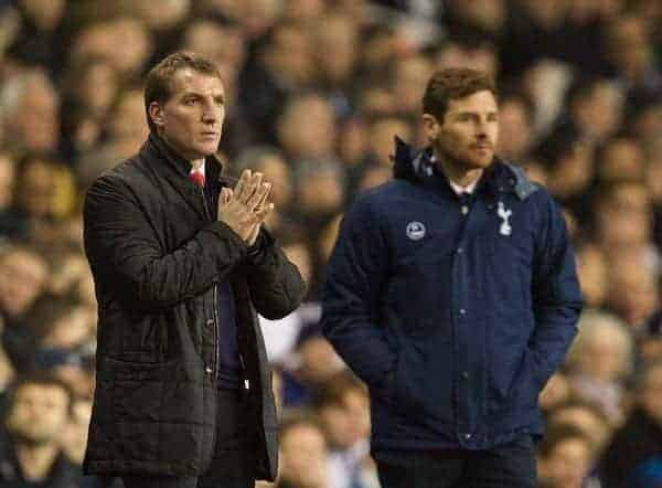 Liverpool's manager Brendan Rodgers and Tottenham Hotspur's manager Andre Villas-Boas during the Premiership match at White Hart Lane. (Pic by David Rawcliffe/Propaganda)