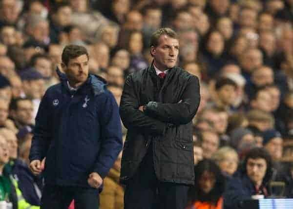 LONDON, ENGLAND - Sunday, December 15, 2013: Liverpool's manager Brendan Rodgers and Tottenham Hotspur's Andre Villas-Boas  during the Premiership match at White Hart Lane. (Pic by David Rawcliffe/Propaganda)