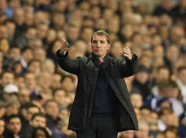 LONDON, ENGLAND - Sunday, December 15, 2013: Liverpool's manager Brendan Rodgers during the Premiership match against Tottenham Hotspur at White Hart Lane. (Pic by David Rawcliffe/Propaganda)