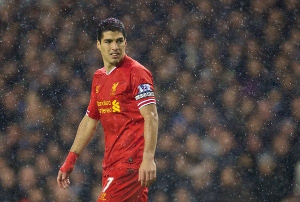 LONDON, ENGLAND - Sunday, December 15, 2013: Liverpool's captain Luis Suarez in action against Tottenham Hotspur during the Premiership match at White Hart Lane. (Pic by David Rawcliffe/Propaganda)