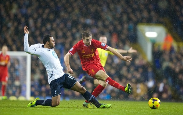 LONDON, ENGLAND - Sunday, December 15, 2013: Liverpool's Jordan Henderson in action against Tottenham Hotspur's Mossa Dembele during the Premiership match at White Hart Lane. (Pic by David Rawcliffe/Propaganda)