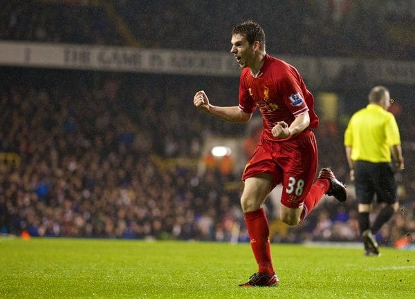 LONDON, ENGLAND - Sunday, December 15, 2013: Liverpool's Jon Flanagan celebrates scoring the third goal against Tottenham Hotspur during the Premiership match at White Hart Lane. (Pic by David Rawcliffe/Propaganda)