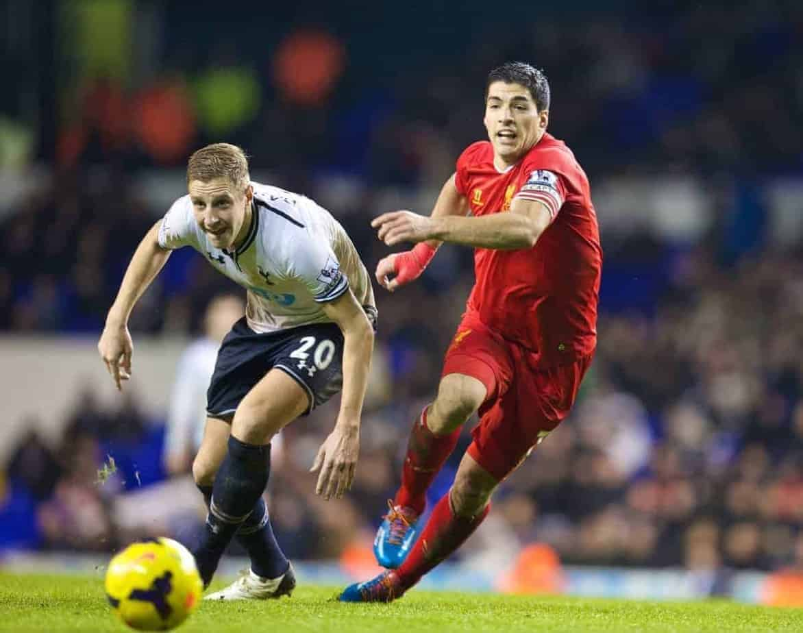 LONDON, ENGLAND - Sunday, December 15, 2013: Liverpool's captain captain Steven Gerrard in action against Tottenham Hotspur's Sandro Raniere during the Premiership match at White Hart Lane. (Pic by David Rawcliffe/Propaganda)