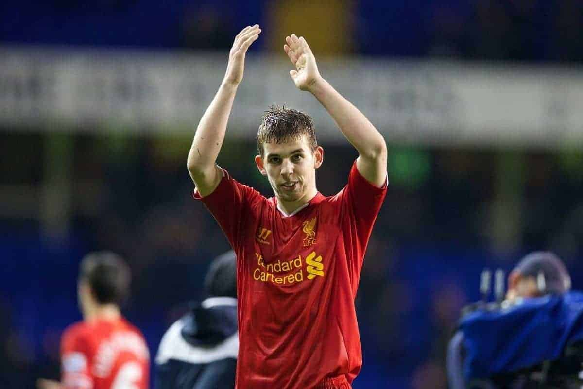LONDON, ENGLAND - Sunday, December 15, 2013: Liverpool's Jon Flanagan applauds the travelling supporters after his first goal for the club helped seal a 5-0 victory over Tottenham Hotspur during the Premiership match at White Hart Lane. (Pic by David Rawcliffe/Propaganda)