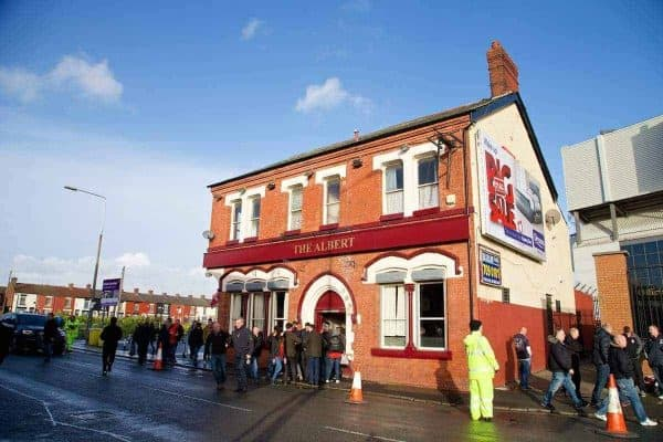 LIVERPOOL, ENGLAND - Saturday, December 21, 2013: Liverpool supporters pub The Albert before the Premiership match against Cardiff City at Anfield. (Pic by David Rawcliffe/Propaganda)