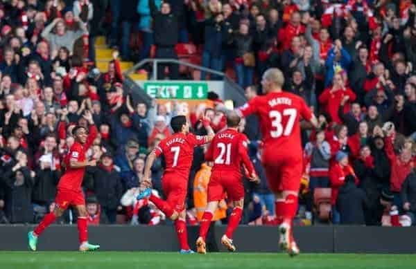 LIVERPOOL, ENGLAND - Saturday, December 21, 2013: Liverpool's Luis Suarez celebrates scoring the third goal against Cardiff City, his second of the game, during the Premiership match at Anfield. (Pic by David Rawcliffe/Propaganda)