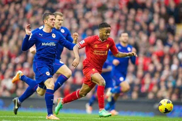 LIVERPOOL, ENGLAND - Saturday, December 21, 2013: Liverpool's Raheem Sterling in action against Cardiff City during the Premiership match at Anfield. (Pic by David Rawcliffe/Propaganda)
