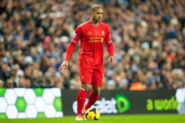 MANCHESTER, ENGLAND - Boxing Day Thursday, December 26, 2013: Liverpool's Glen Johnson in action against Manchester City during the Premiership match at the City of Manchester Stadium. (Pic by David Rawcliffe/Propaganda)