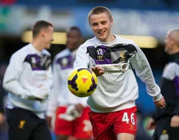 LONDON, ENGLAND - Sunday, December 29, 2013: Liverpool's Jordan Rossiter warms-up before the Premiership match against Chelsea at Stamford Bridge. (Pic by David Rawcliffe/Propaganda)